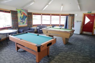 A pool table inside the Johnsonville Community's Youth Room
